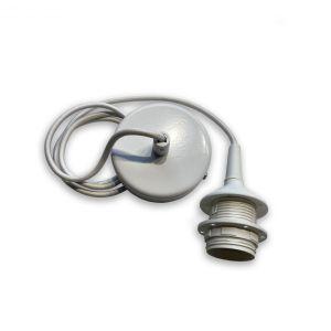 Závěs bílý matný kov 1xE27, bílý textilní kabel