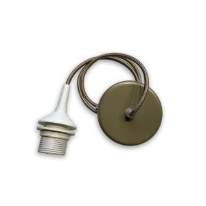 Závěs pearl beige matný kov 1xE27, pearl beige textilní kabel